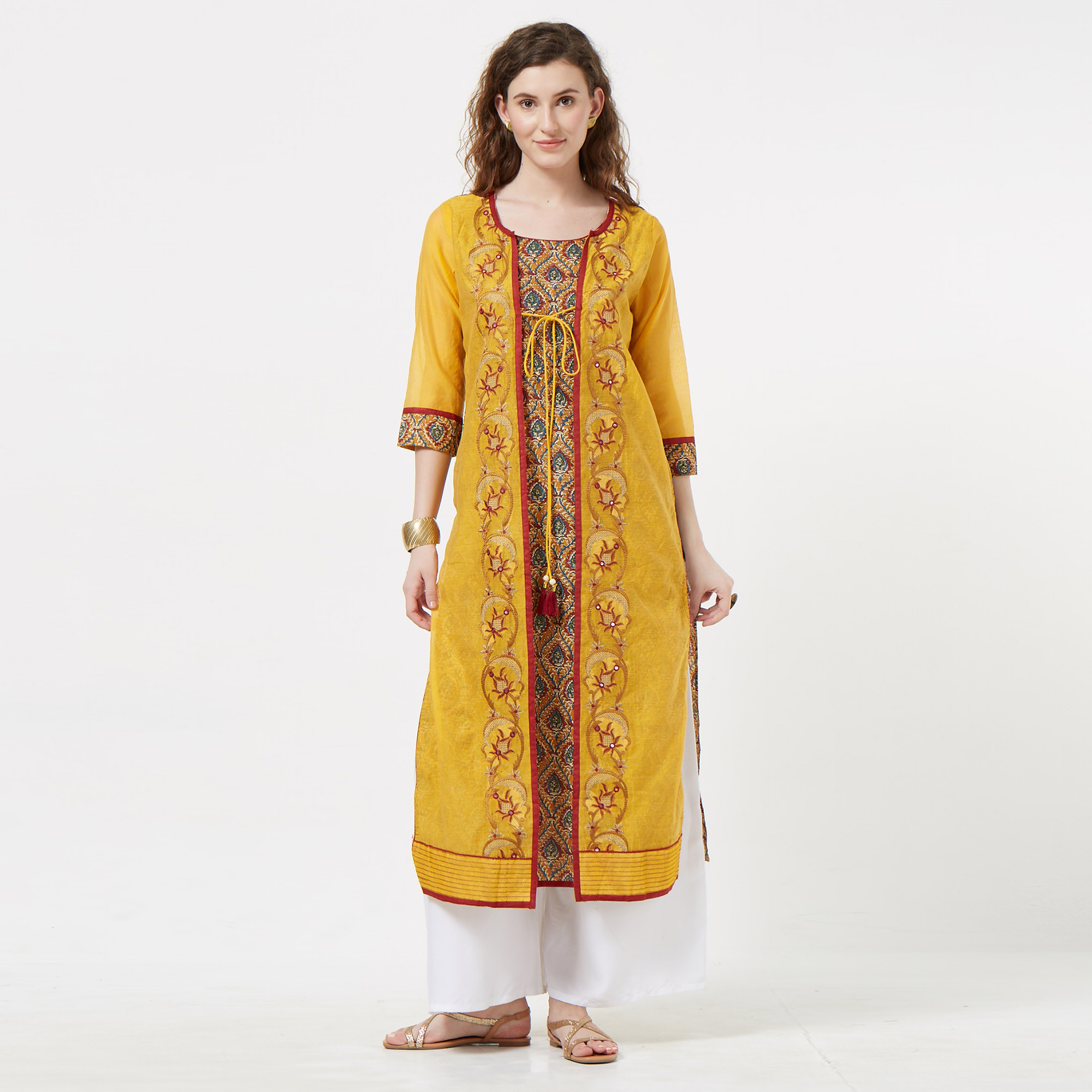 Ideal Yellow Colored Partywear Embroidered Cotton Long Kurti