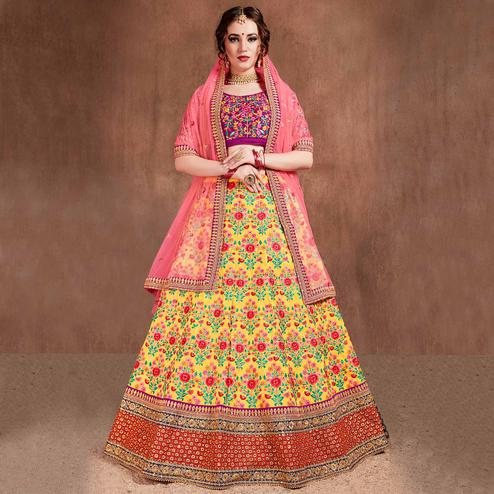 Alluring Yellow-Pink Colored Partywear Embroidered Mulberry Silk Lehenga Choli