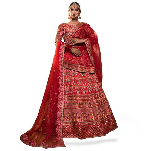 Flaunt Red Colored Partywear Embroidered Mulberry Silk Lehenga Choli
