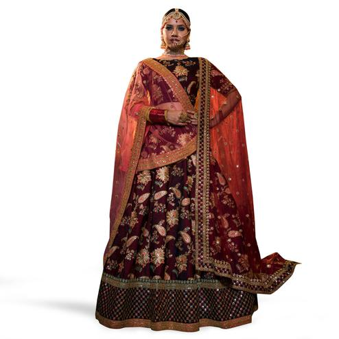 Stunning Maroon Colored Partywear Embroidered Tapeta Silk Lehenga Choli
