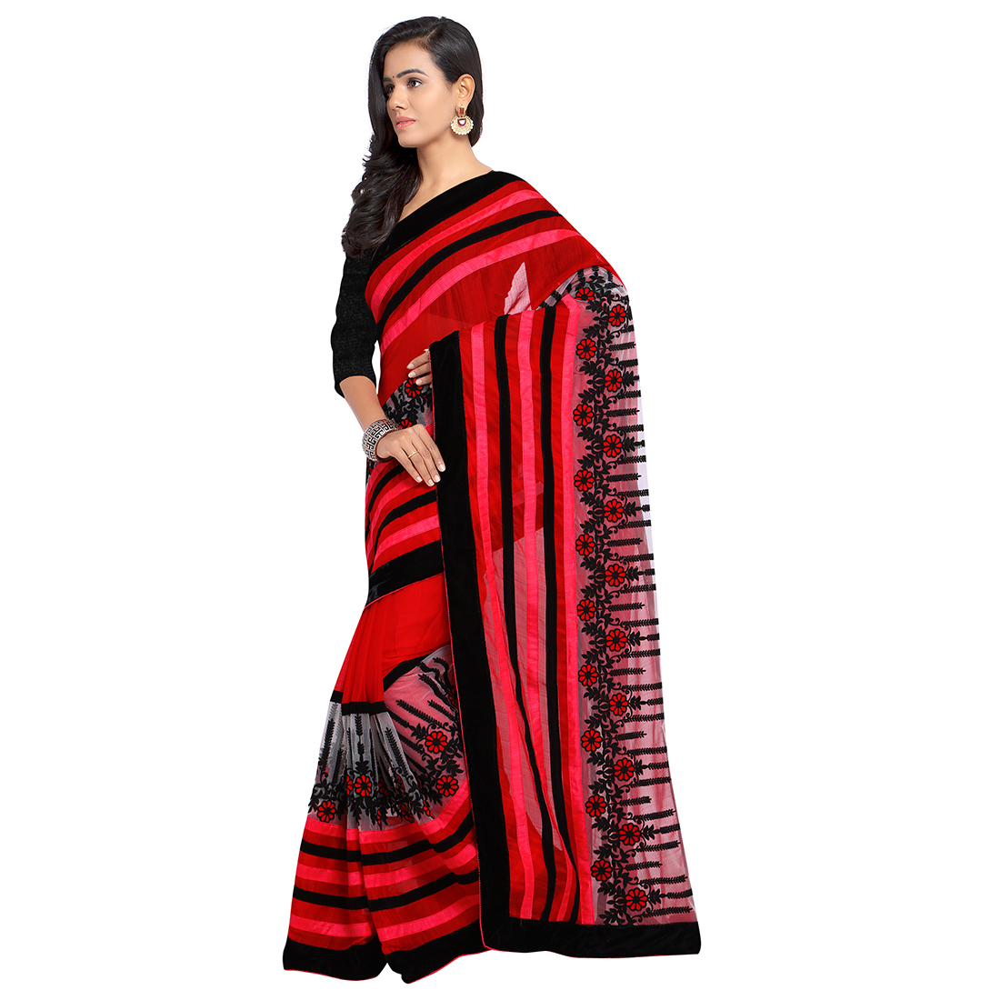 Red Chiffon Embroidered Partywear Saree