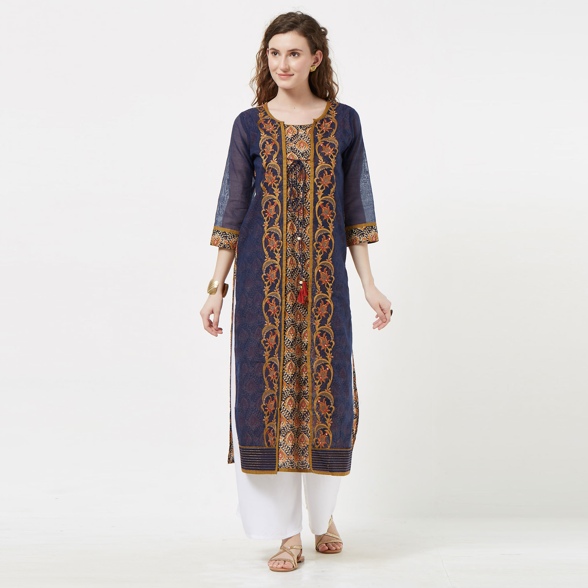 Imposing Navy Blue Colored Partywear Embroidered Cotton Long Kurti