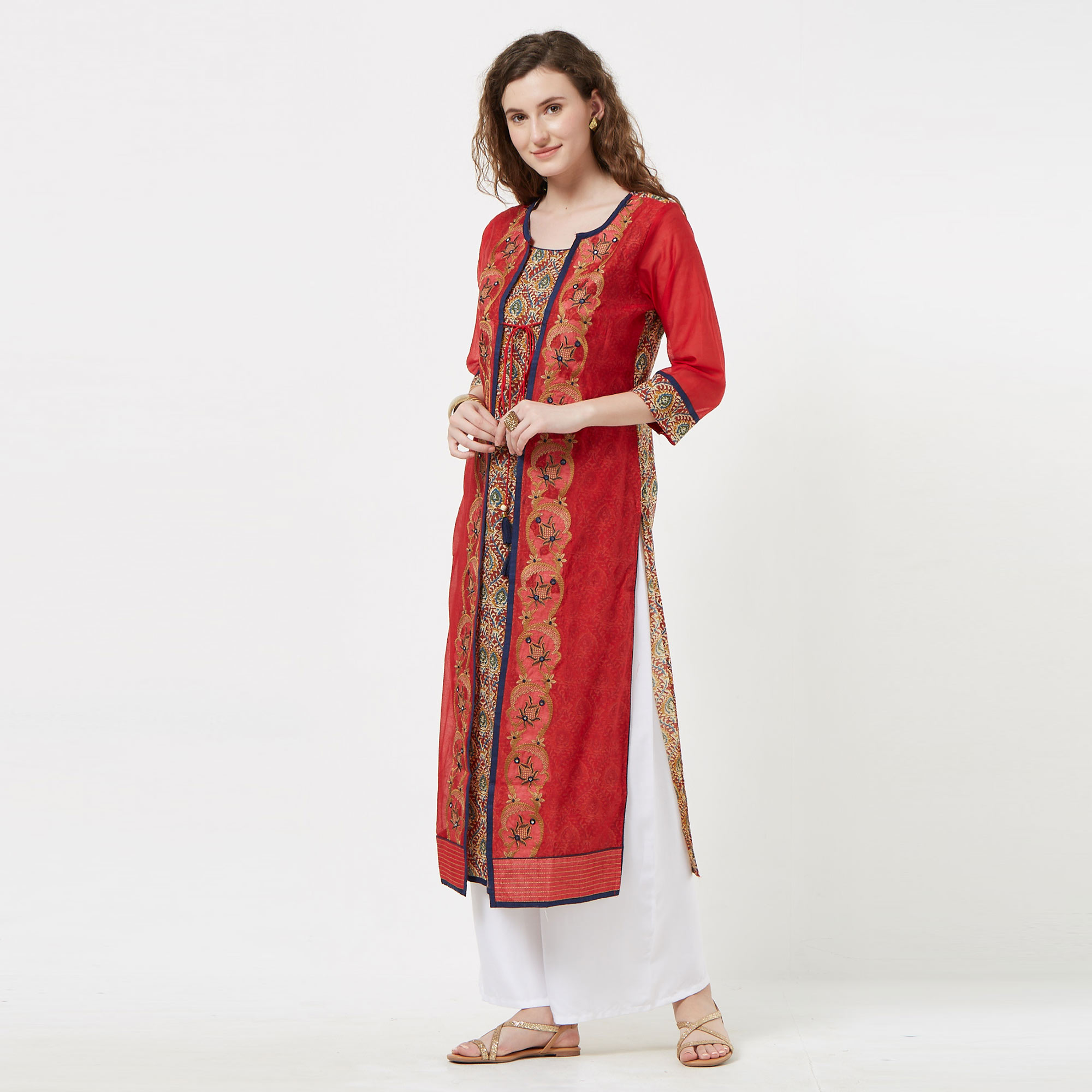 Lovely Red Colored Partywear Embroidered Cotton Long Kurti