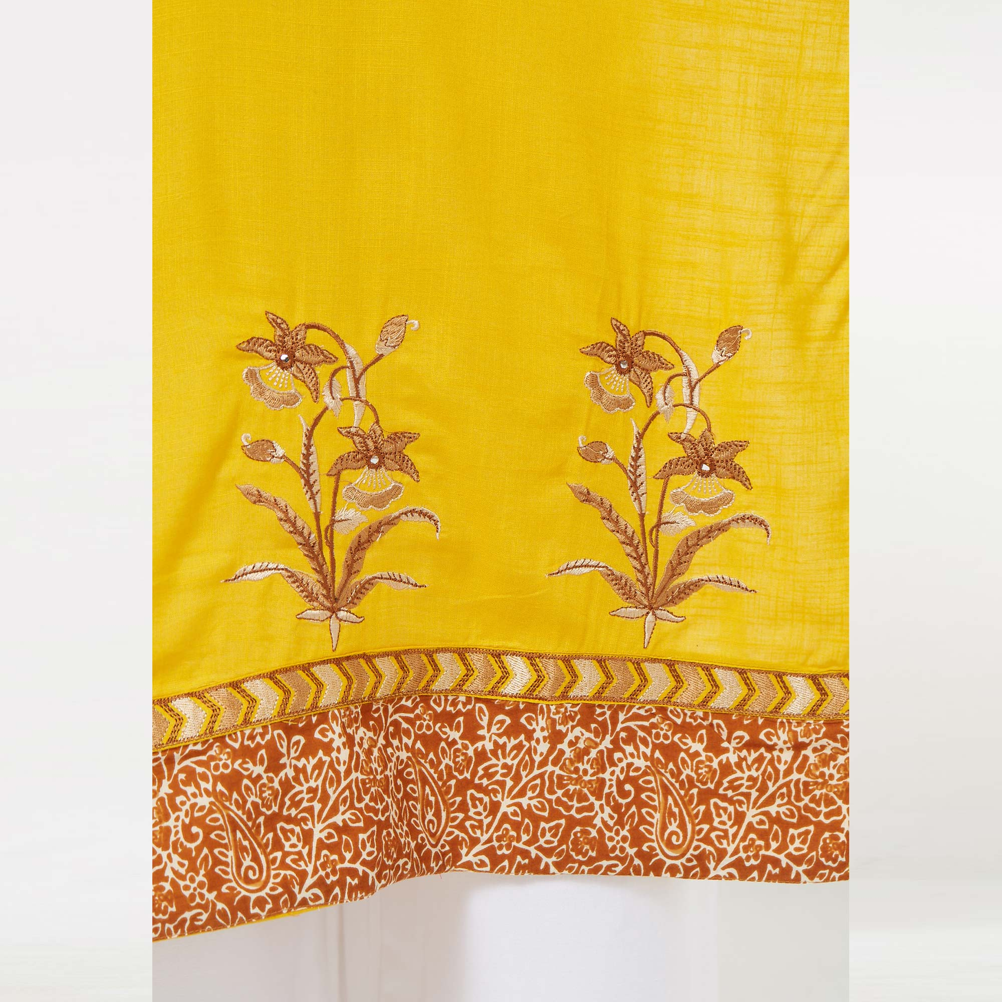 Majesty Yellow Colored Partywear Embroidered Cotton Long Kurti