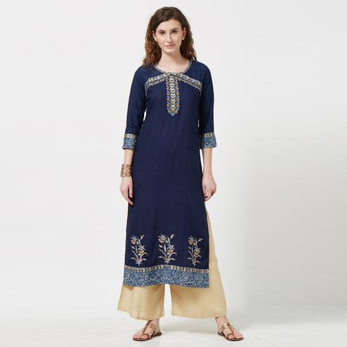 Impressive Navy Blue Colored Partywear Embroidered Cotton Long Kurti