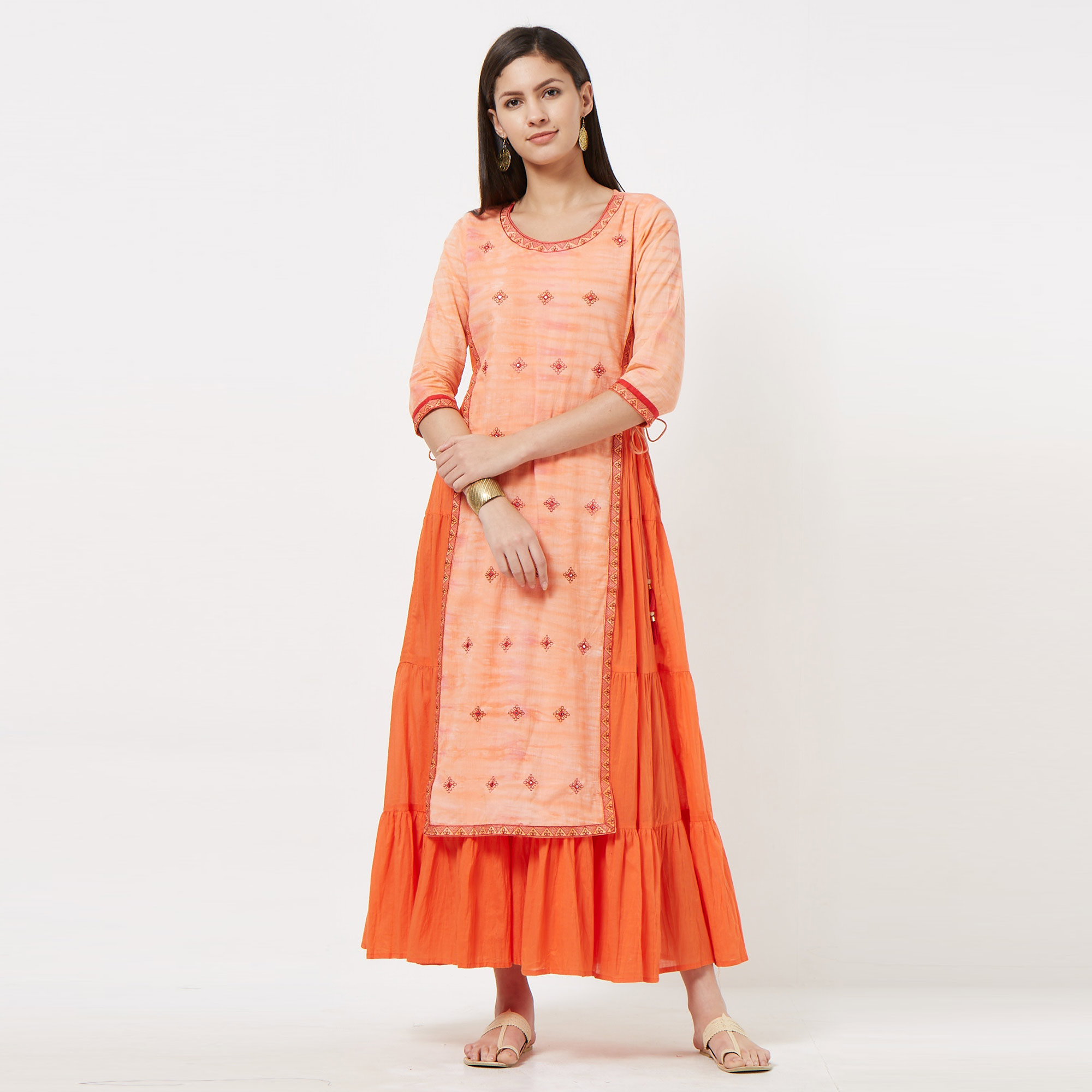Mesmerising Peach Colored Partywear Embroidered Long Kurti