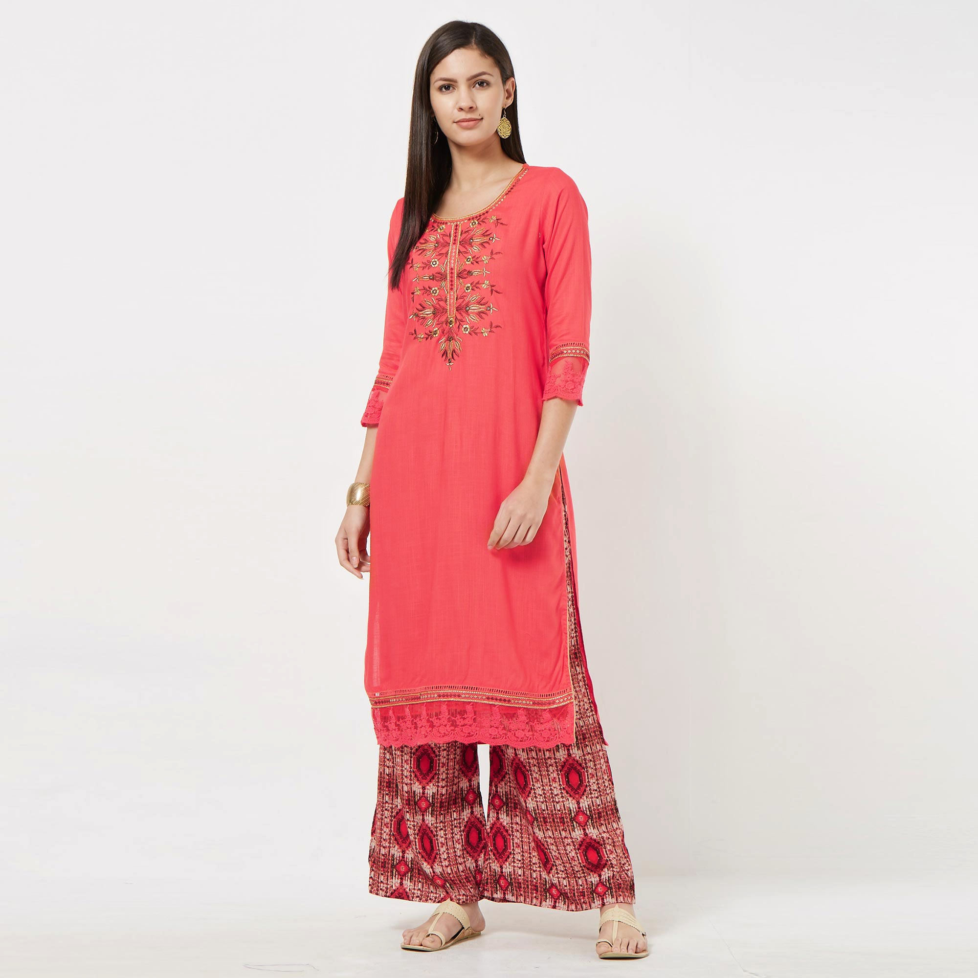 Excellent Pink Colored Partywear Embroidered Cotton Palazzo Suit