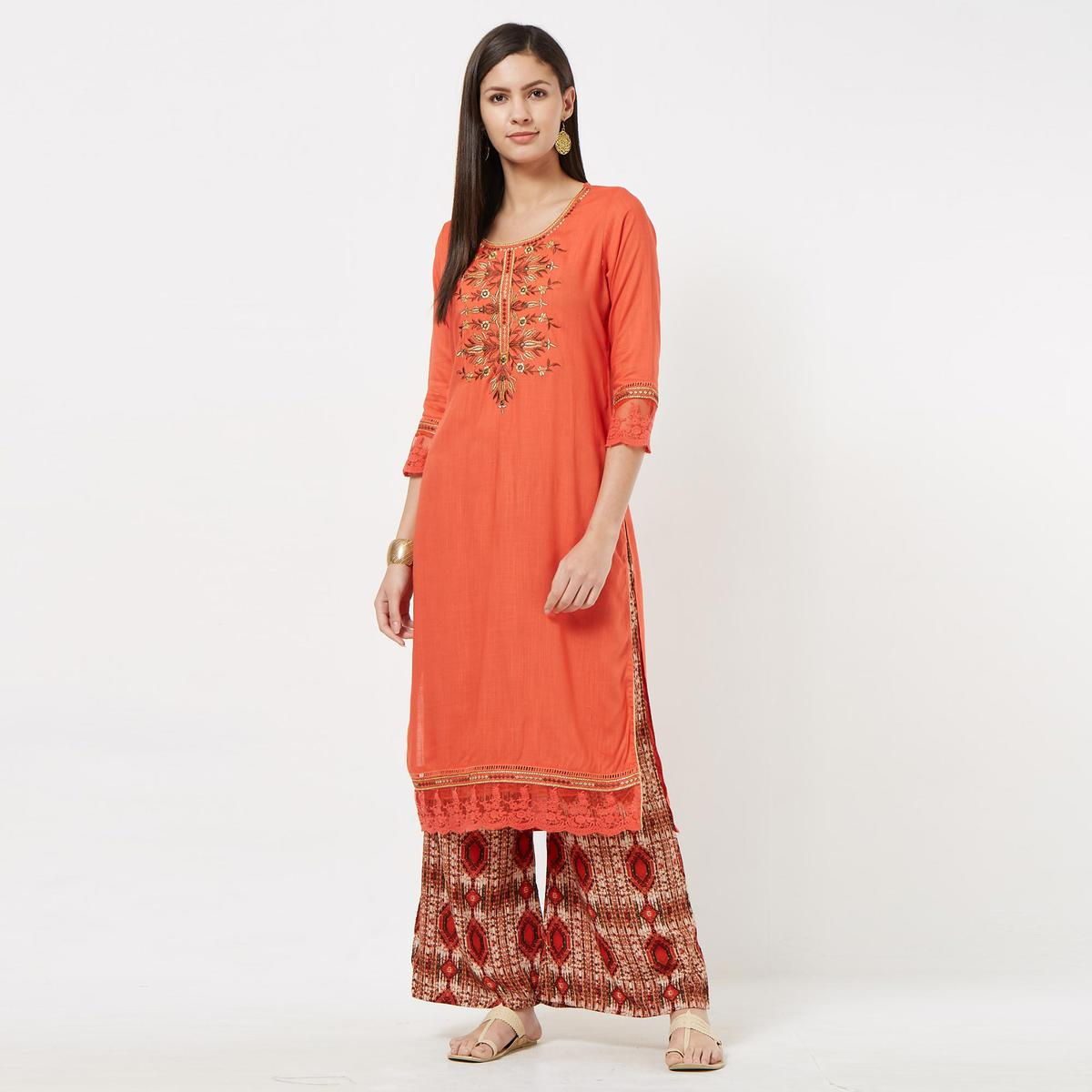 Hypnotic Gajri Colored Partywear Embroidered Cotton Palazzo Suit