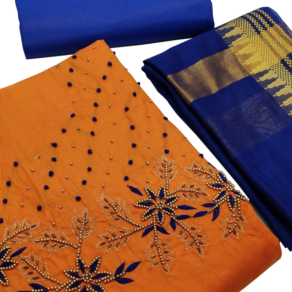 Demanding Orange Colored Partywear Embroidered Chanderi Silk Dress Material