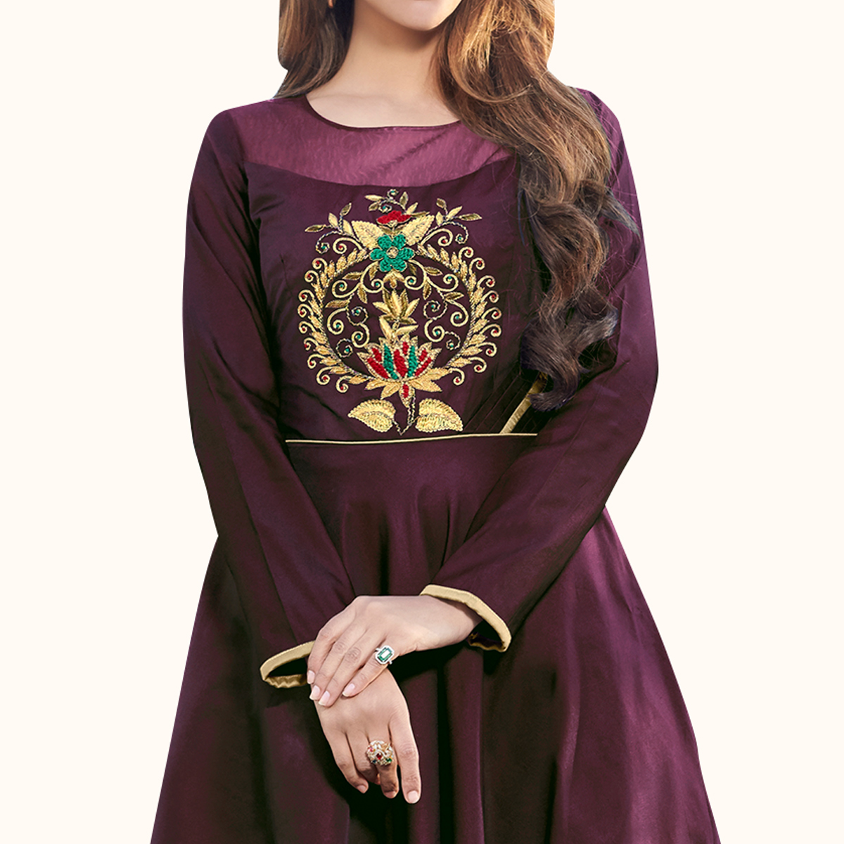 Innovative Dark Wine Colored Party Wear Embroidered Tapeta Silk Gown