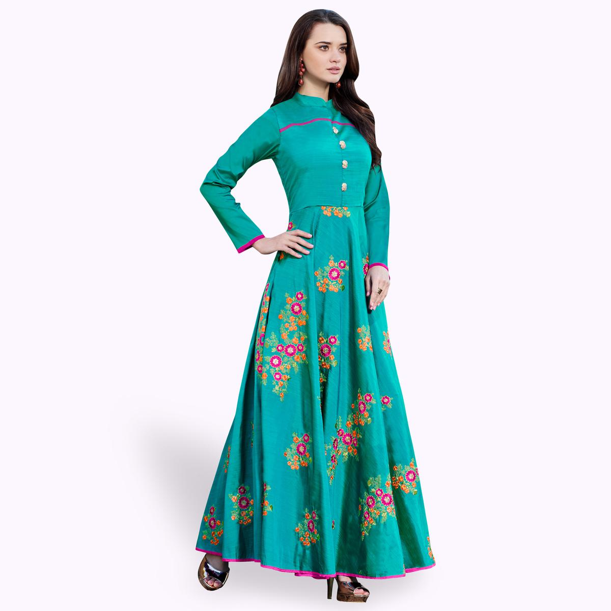 Eye-catching Rama Green Colored Party Wear Embroidered Raw Silk Gown