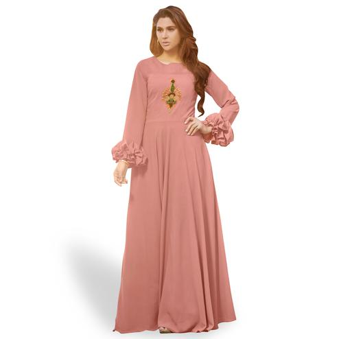 Fantastic Light Mauve Colored Party Wear Embroidered Georgette Gown
