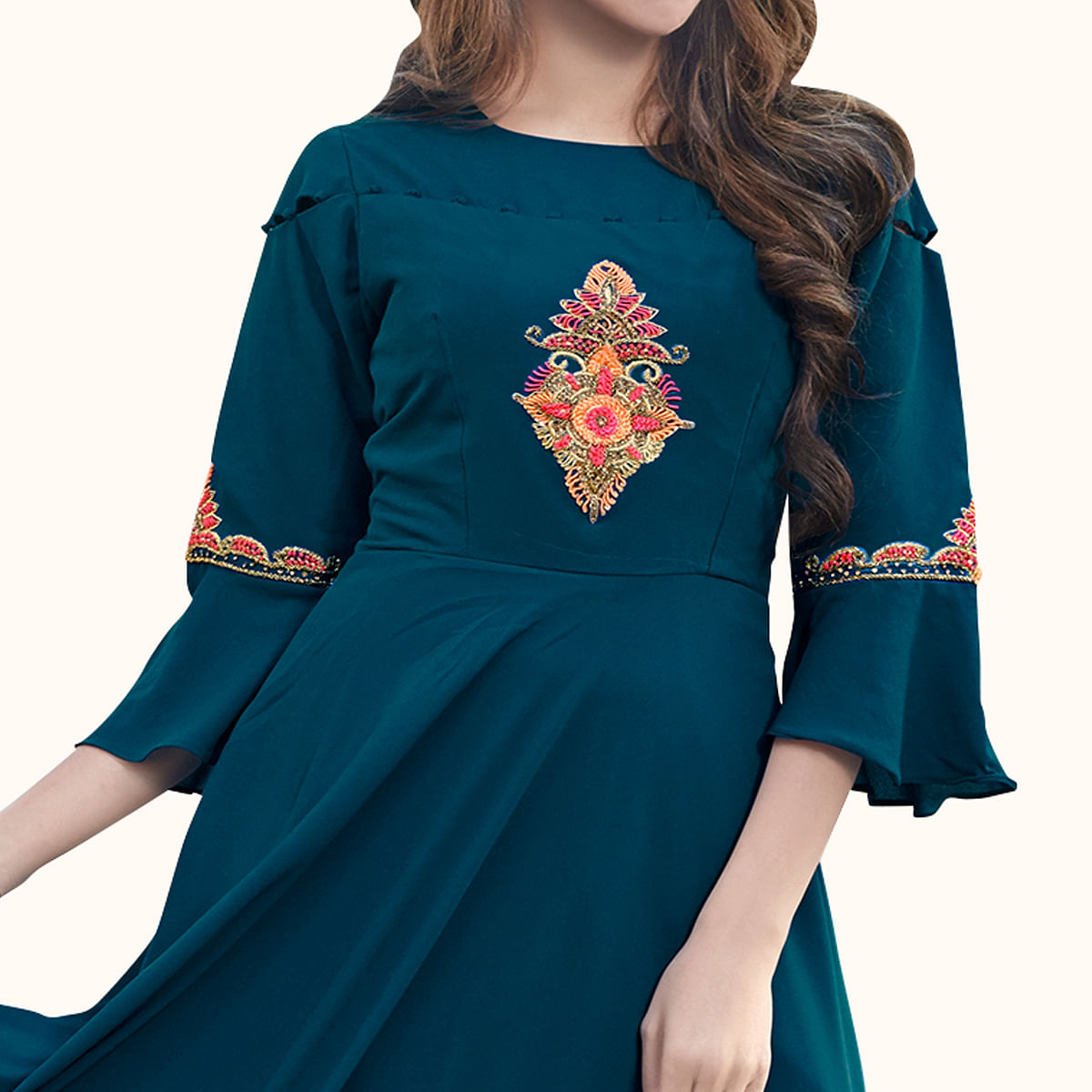 Amazing Teal Green Colored Party Wear Embroidered Georgette Gown