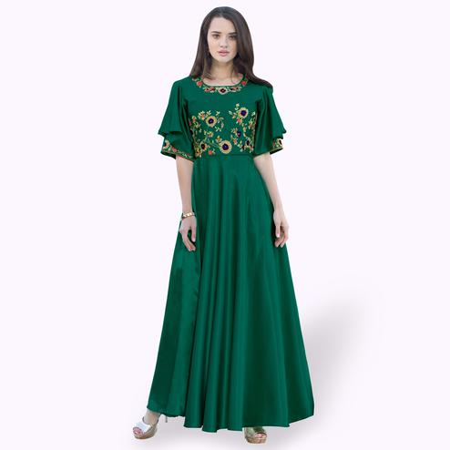 Blissful Green Colored Party Wear Embroidered Tapeta Silk Gown