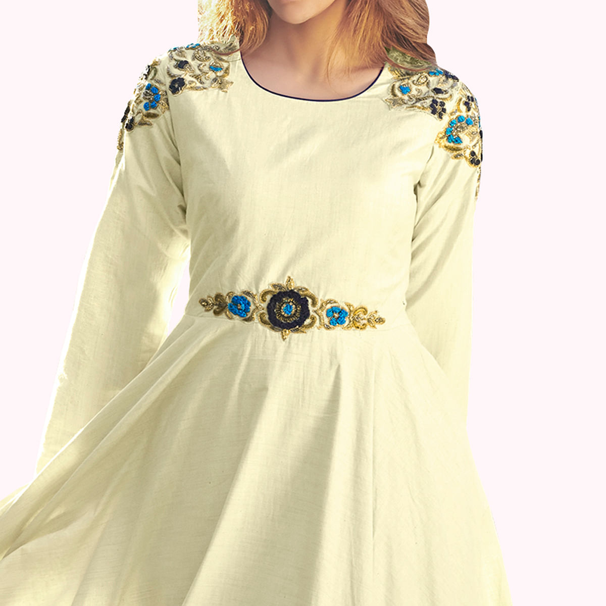Ideal Cream Colored Party Wear Embroidered Raw Silk Gown