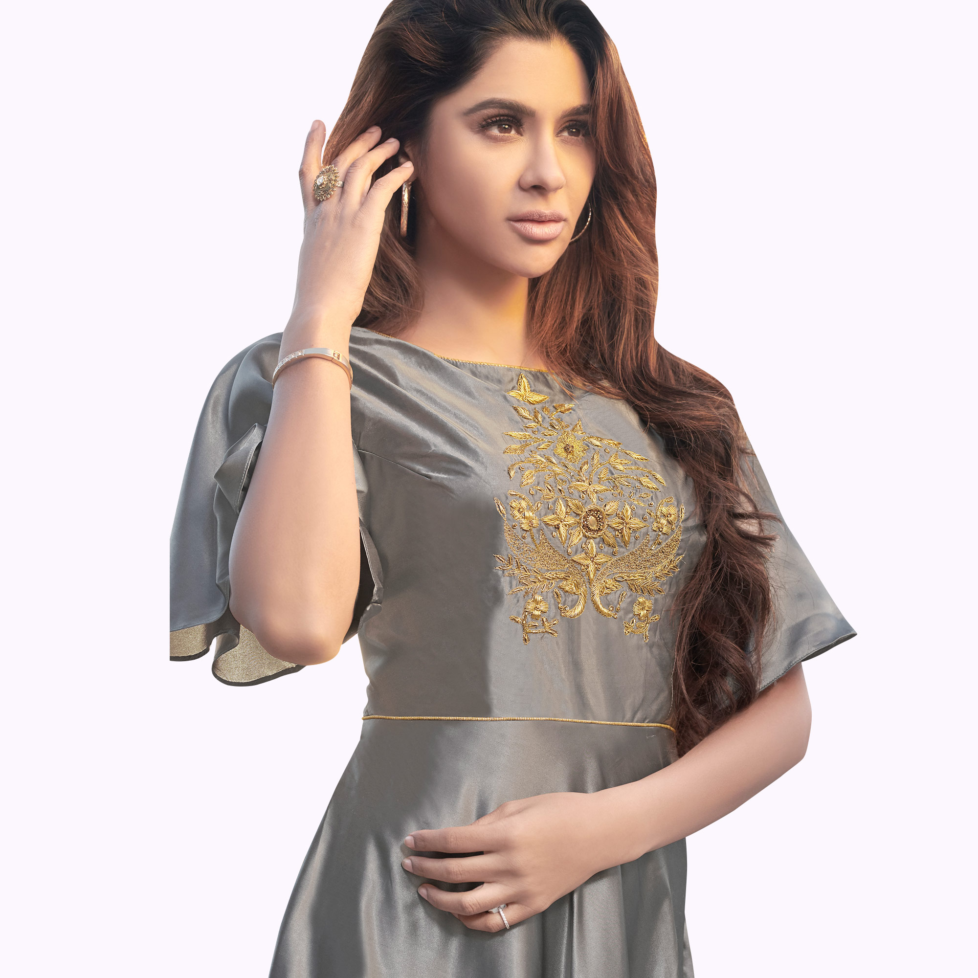 Lovely Gray Colored Party Wear Embroidered Tapeta Silk Gown