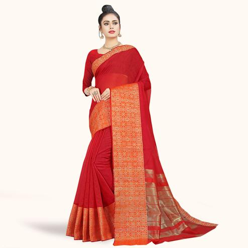 Pleasance Red Colored Festive Wear Woven Chanderi Silk Saree