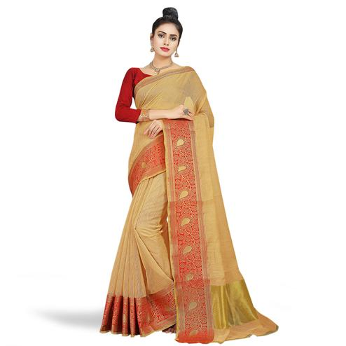 Ethnic Beige Colored Festive Wear Woven Chanderi Silk Saree