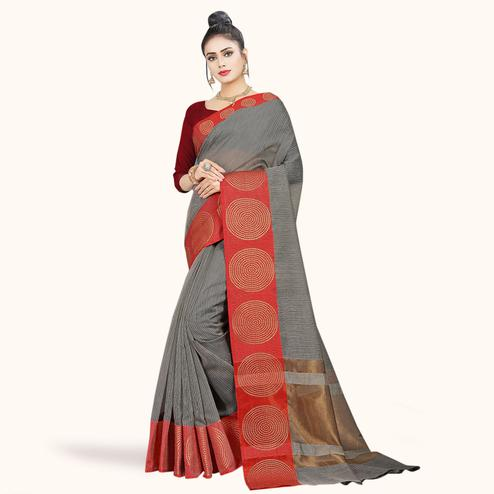 Ravishing Gray Colored Festive Wear Woven Chanderi Silk Saree