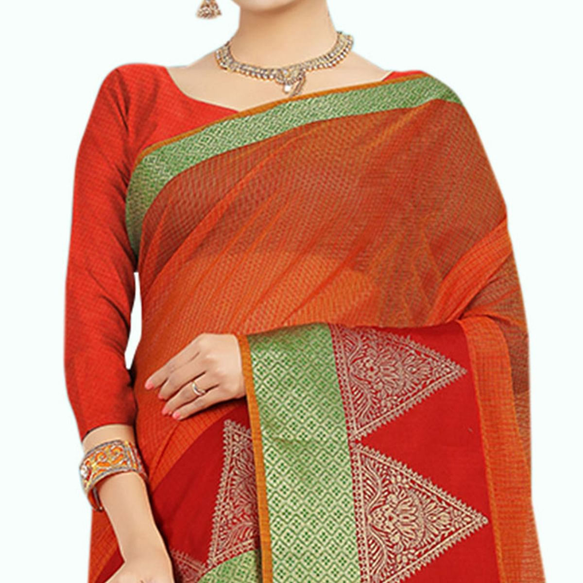 Staring Orange Colored Festive Wear Woven Chanderi Silk Saree