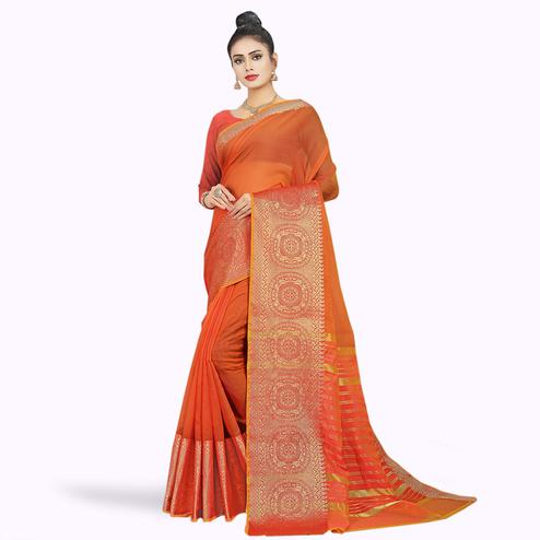 Dazzling Light Orange Colored Festive Wear Woven Chanderi Silk Saree