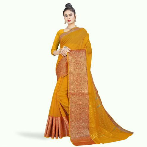 Surpassing Yellow Colored Festive Wear Woven Chanderi Silk Saree
