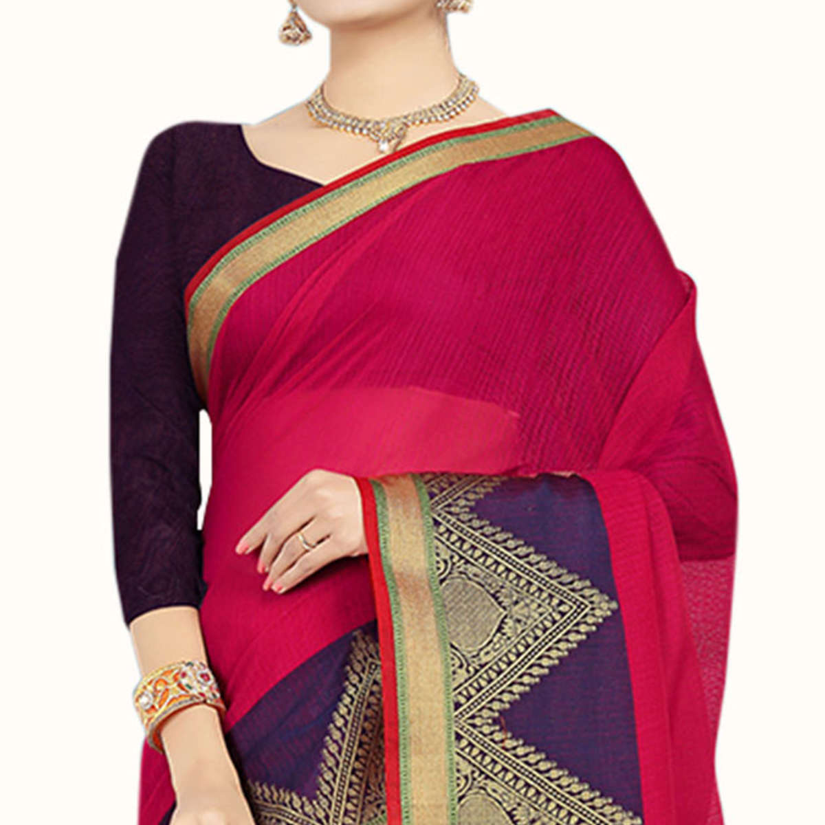 Pretty Pink Colored Festive Wear Woven Chanderi Silk Saree