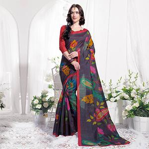 Black Casual Wear Floral Printed Bhagalpuri Silk Saree