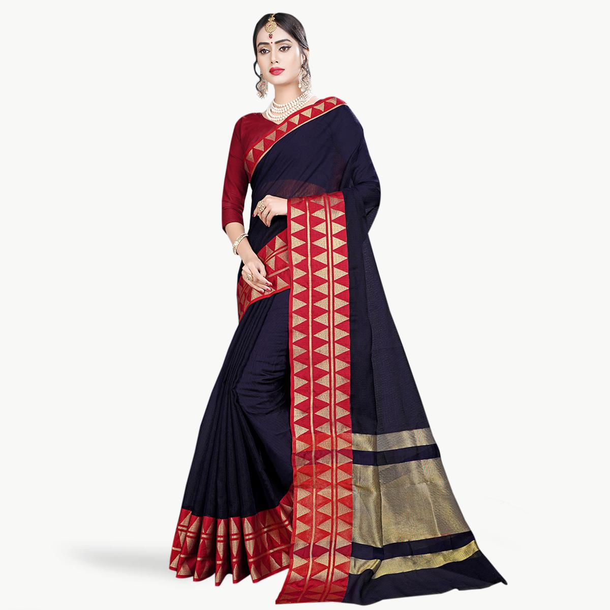 Unique Navy Blue Colored Festive Wear Woven Chanderi Silk Saree