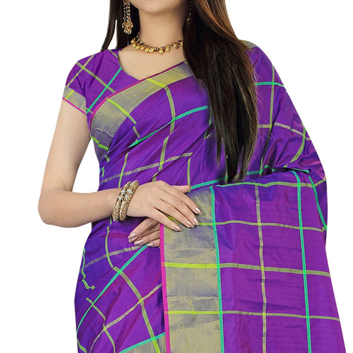 Delightful Purple Colored Festive Wear Woven Silk Saree