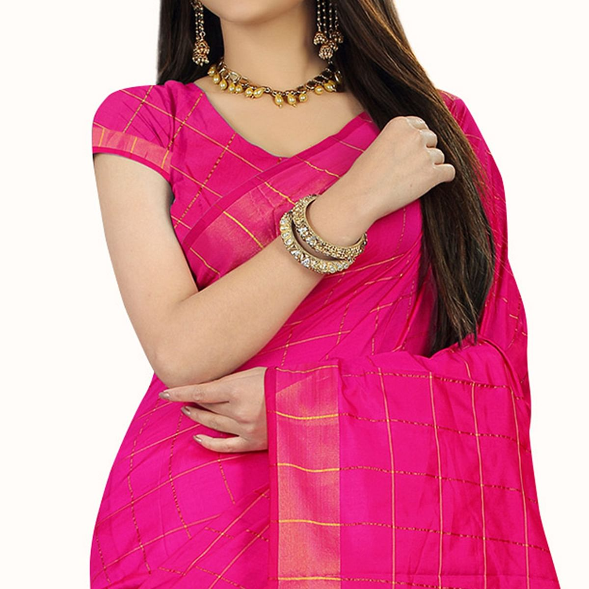 Engrossing Pink Colored Festive Wear Woven Silk Saree