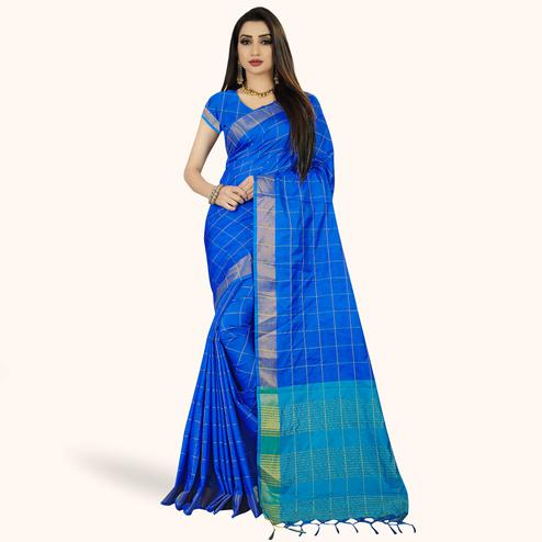 Captivating Royal Blue Colored Festive Wear Woven Silk Saree