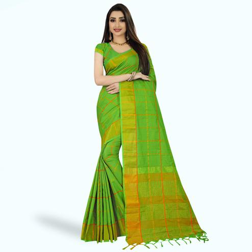 Fantastic Green Colored Festive Wear Woven Silk Saree