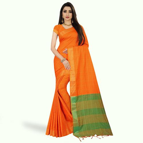Amazing Orange Colored Festive Wear Woven Silk Saree