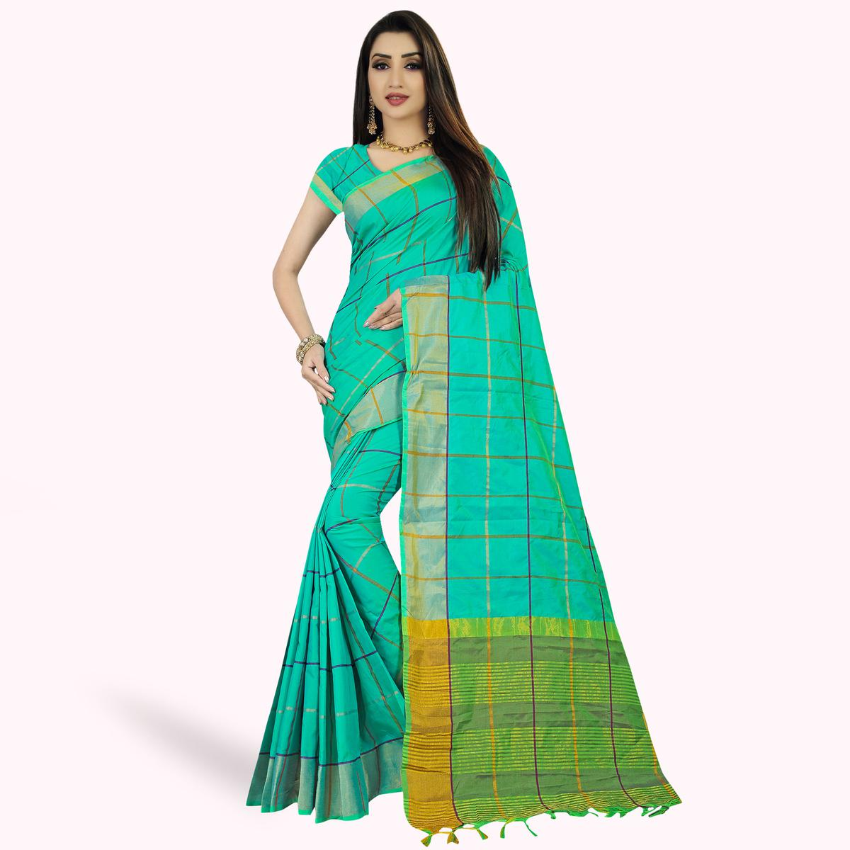 Ideal Turquoise Green Colored Festive Wear Woven Silk Saree