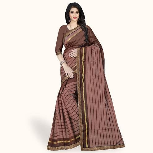 Radiant Brown Colored Casual Wear Printed Chanderi Silk Saree