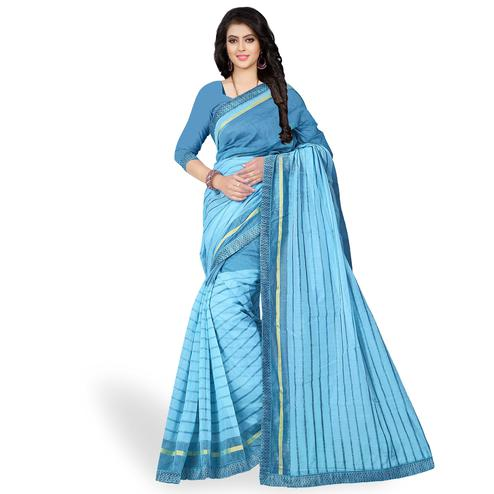 Pleasant Sky Blue Colored Casual Wear Printed Chanderi Silk Saree