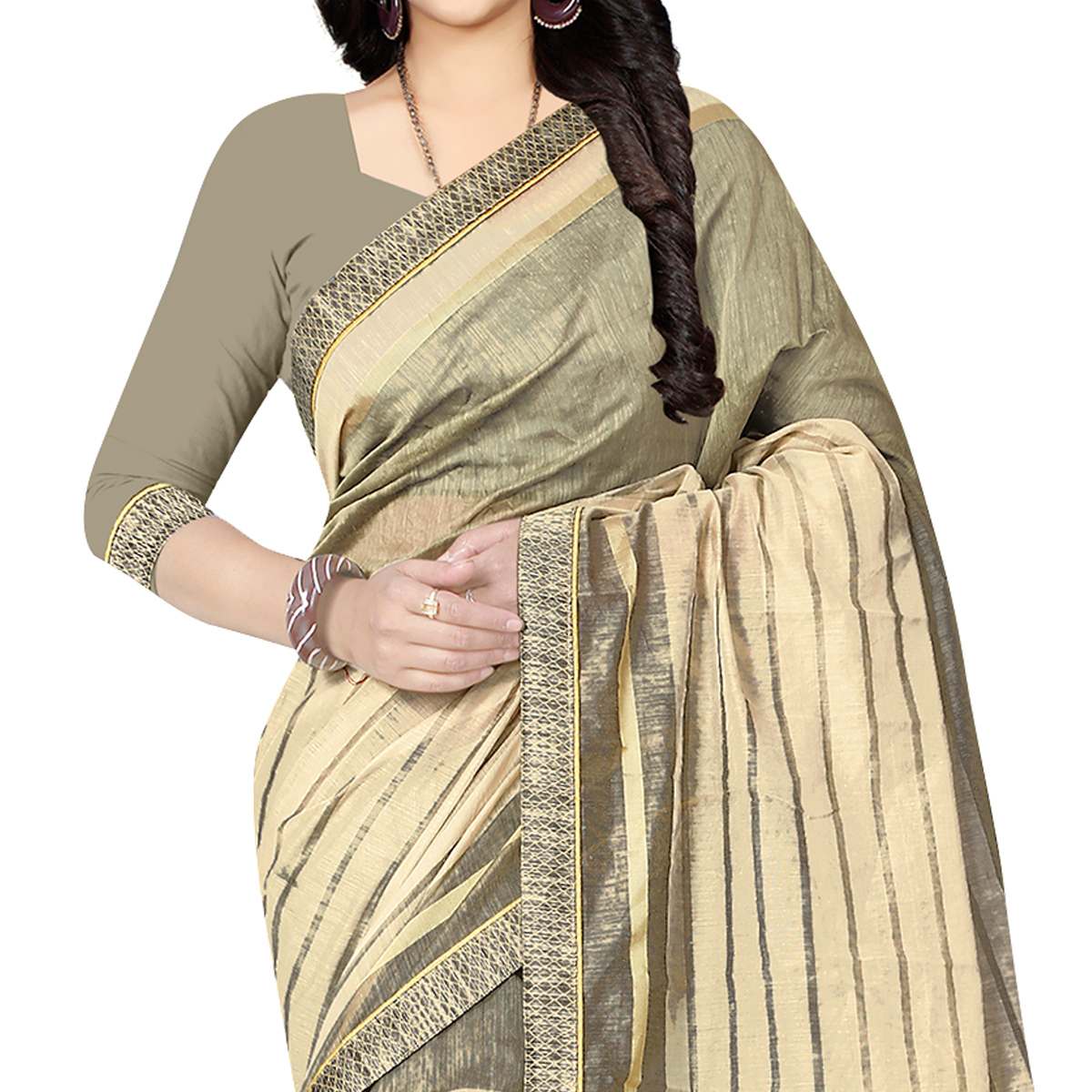 Energetic Off White Colored Casual Wear Printed Chanderi Silk Saree