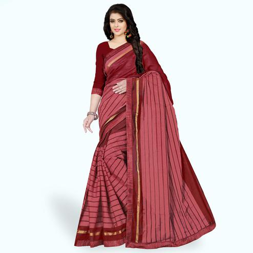 Glowing Light Red Colored Casual Wear Printed Chanderi Silk Saree