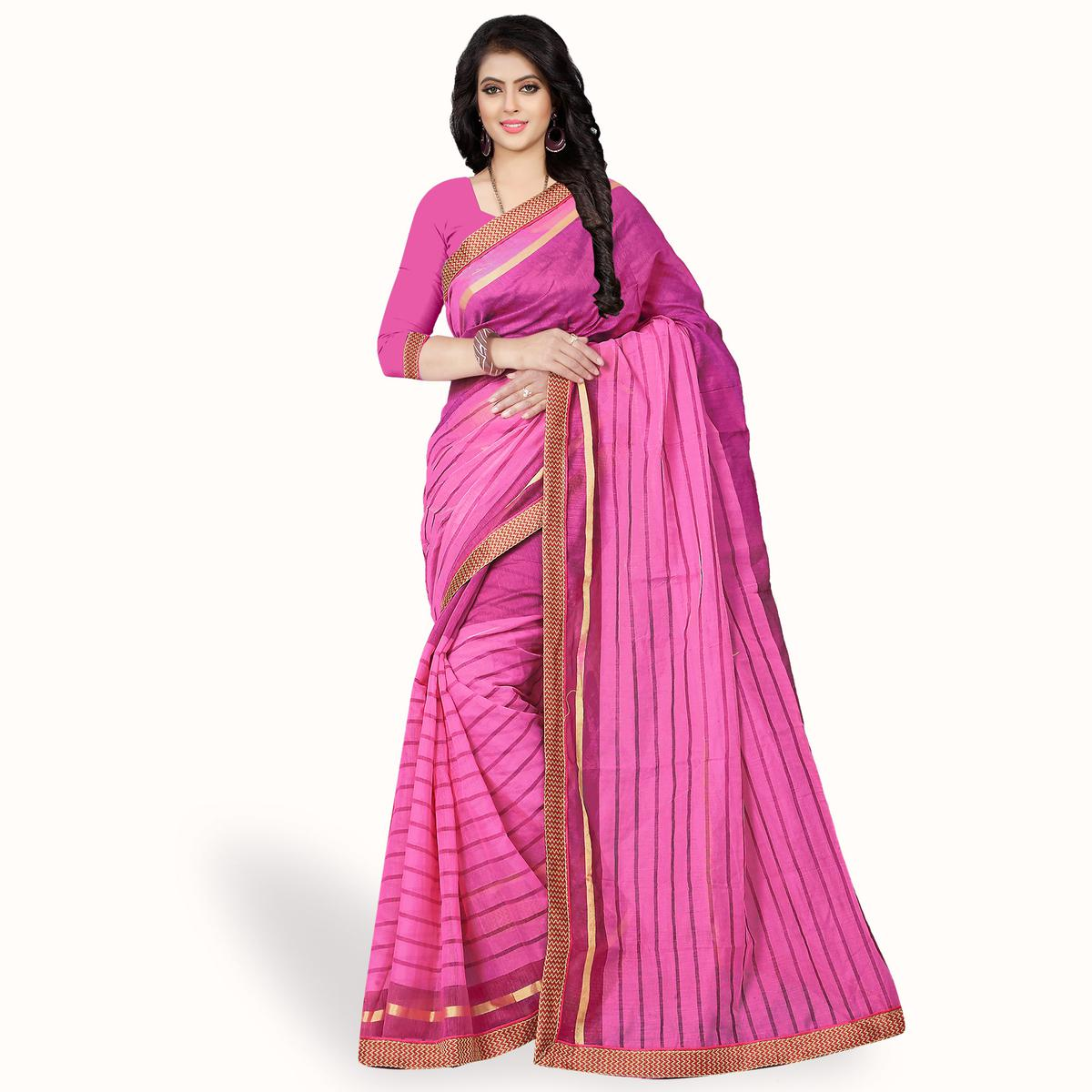 Mesmeric Pink Colored Casual Wear Printed Chanderi Silk Saree
