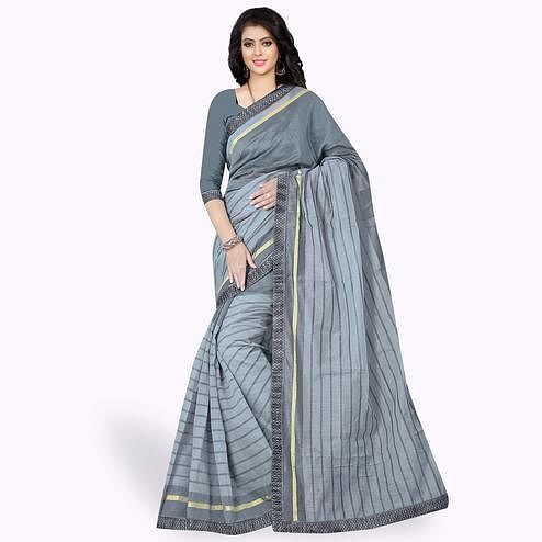 Unique Gray Colored Casual Wear Printed Chanderi Silk Saree