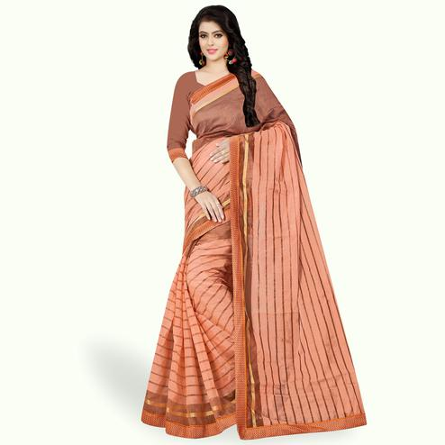 Demanding Peach Colored Casual Wear Printed Chanderi Silk Saree