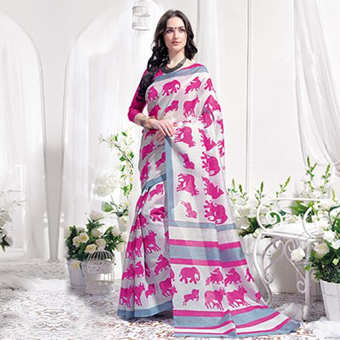 White-Pink Casual Wear Printed Bhagalpuri Silk Saree