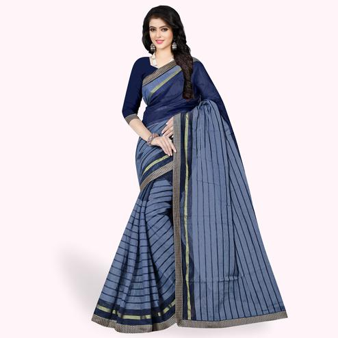 Hypnotic Grayish Blue Colored Casual Wear Printed Chanderi Silk Saree