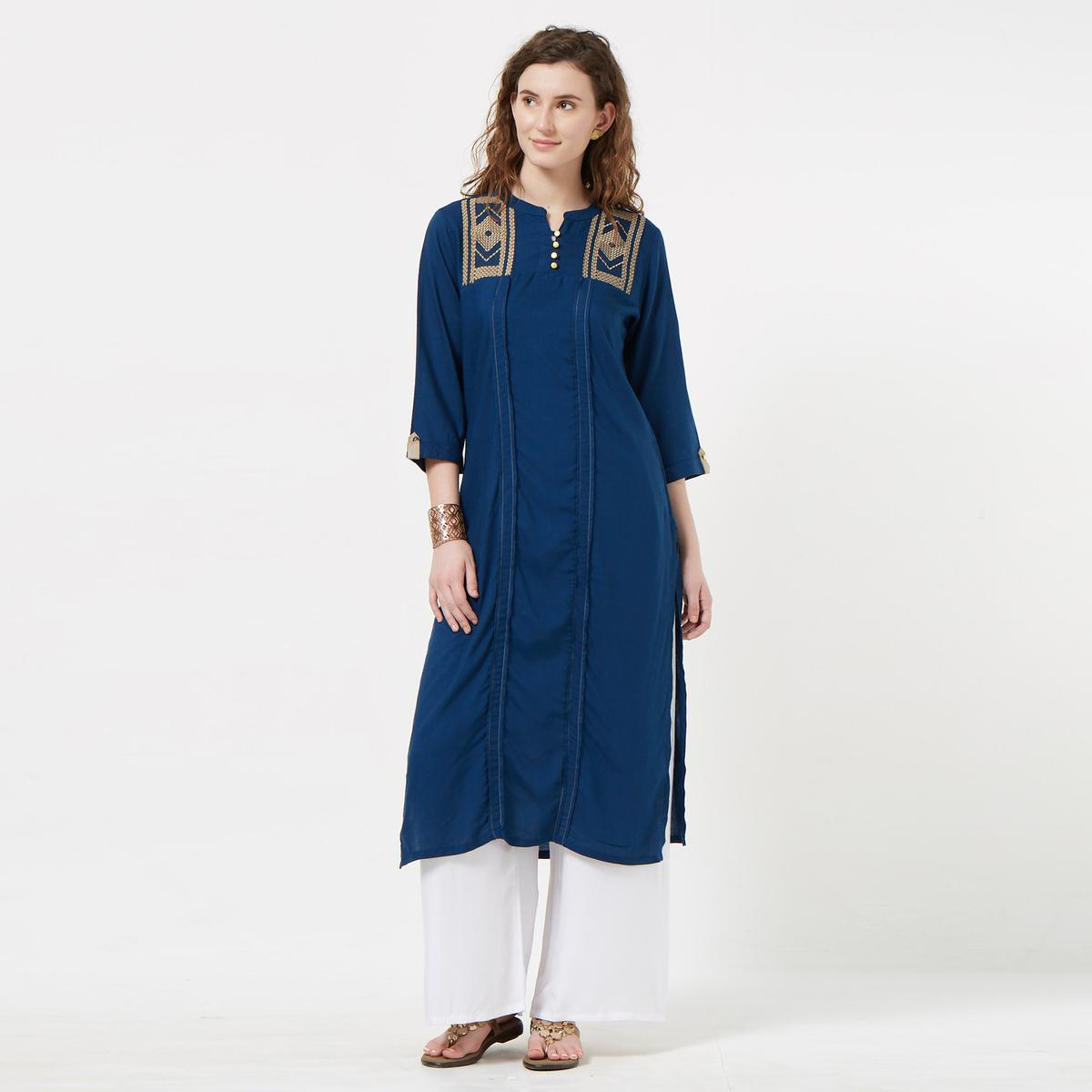 Amazing Blue Colored Casual Wear Embroidered Rayon Kurti