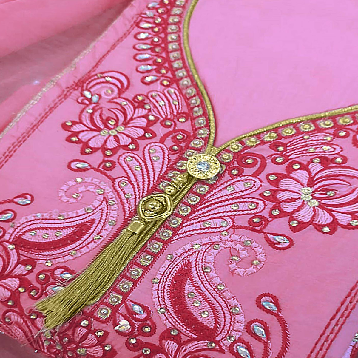 Adorable Pink Colored Partywear Embroidered Cotton Dress Material