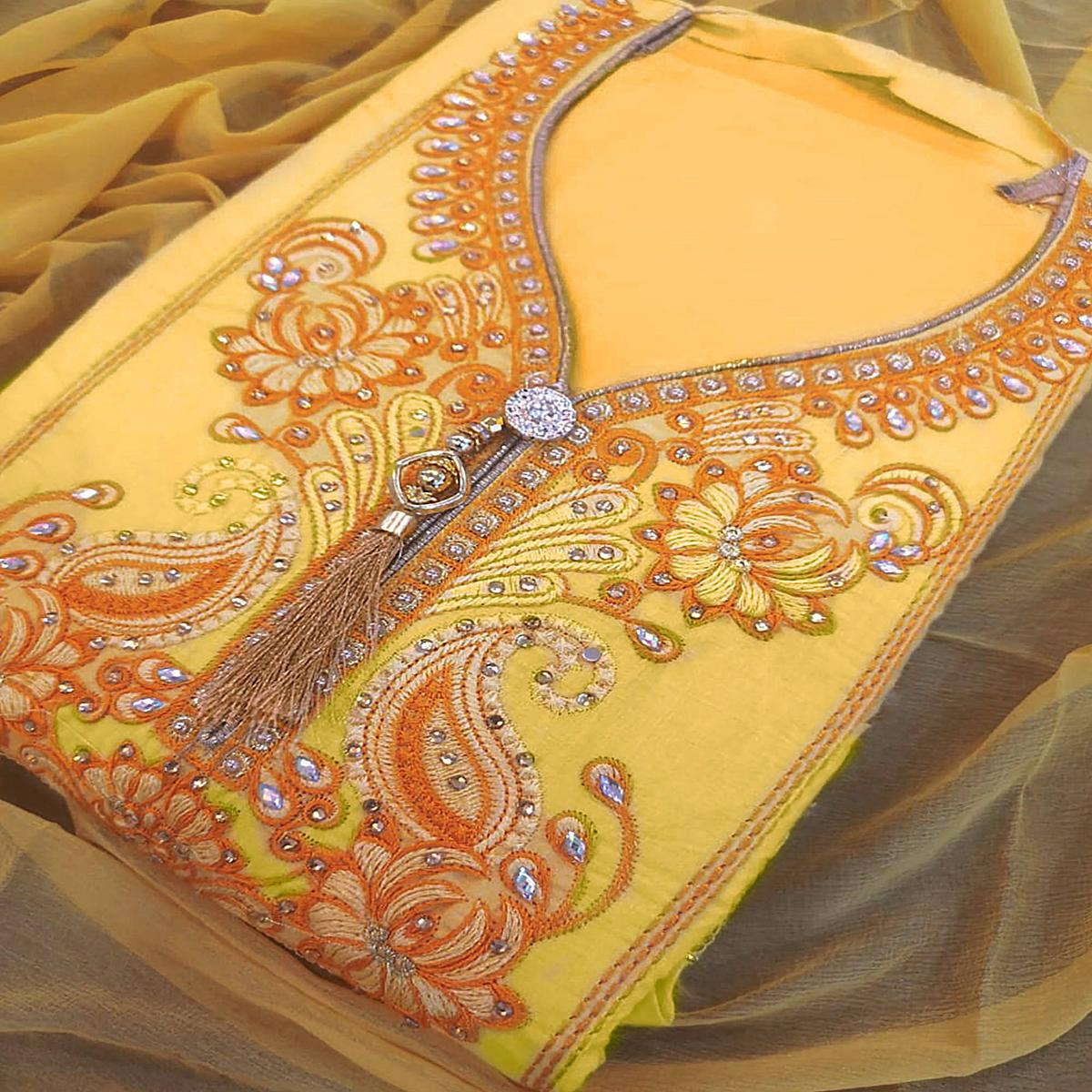 Glorious Light Yellow Colored Partywear Embroidered Cotton Dress Material