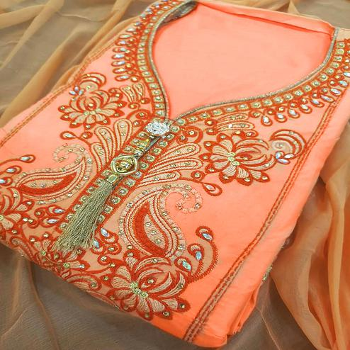 Attractive Light Orange Colored Partywear Embroidered Cotton Dress Material
