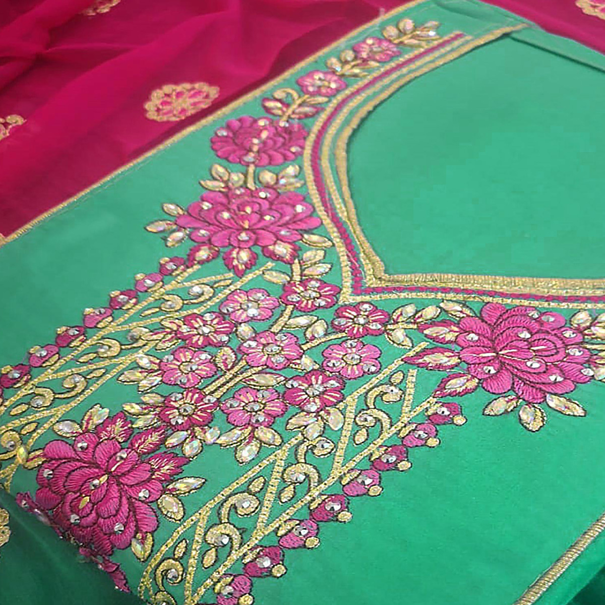 Graceful Green Colored Partywear Embroidered Cotton Dress Material