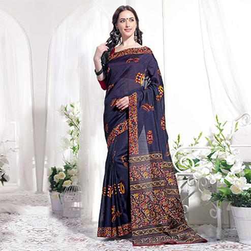 Navy Casual Wear Printed Bhagalpuri Silk Saree